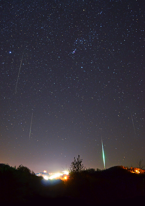 """""""Geminids over Sugar Mountain"""", including the constellation Orion, from Banner Elk made around 3:30 AM on Friday from a nearby Christmas tree farm. Photos by Todd Bush"""