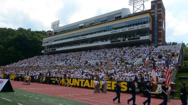 The home crowd at Kidd Brewer Stadium against Old Dominion last week. Photo by David Scearce / App State Athletics