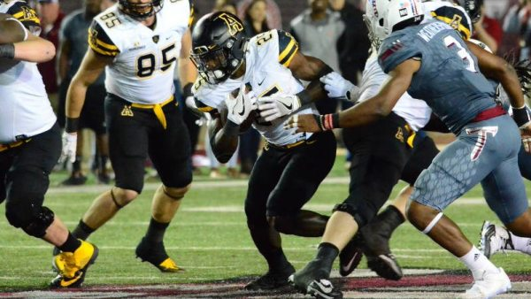 RB Jalin Moore finished with 91 yards and two TDs in the Apps' loss at Troy on Saturday. Courtesy: Allyson Lamb