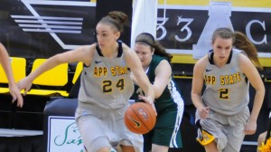 Maryah Sydnor's double-double helped pace Appalachian State past UNCG on Sunday afternoon. Photo by Dave Mayo and courtesy of Appalachian Sports Information