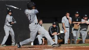 True freshman Jaylin Davis launches a three-run home run that jump-started Appalachian State's 6-3 win over No. 8 NC State in Friday's season opener at Doak Field. Photo by Maggie Hobson and courtesy of Appalachian Sports Information