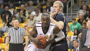 Michael Obacha scored 11 points and grabbed eight rebounds in Appalachian's 76-68 win over UNCG on Sunday. Photo by Bill Sheffield and courtesy of Appalachian Sports Information