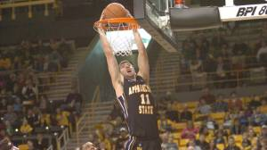 Nathan Healy finished his final regular season game with 20 points and 14 boards to help Appalachian State clinch a first-round bye in the SoCon Tournament with an 86-60 rout of Chattanooga on Saturday. Photo by Dave Mayo | ASU Sports