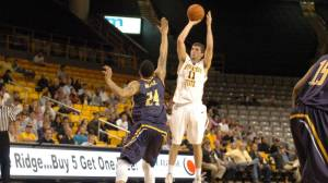 Nathan Healy's double-double helped Appalachian State past Georgia Southern in a 91-86 overtime win on Thursday night. Photo by Dave Mayo | ASU Sports