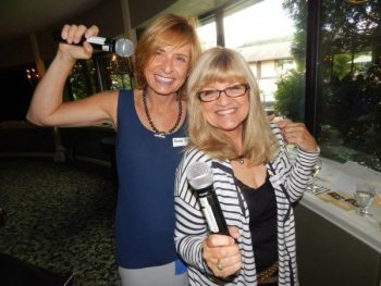 Margo Lenmark and Anne Rasheed emcee last year's WWIL Round Robin networking event at Meadowbrook Inn.