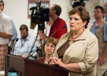 Watauga Elections Director Jane Ann Hodges speaks before the State Board of Elections in 2013. Photo by Lonnie Webster