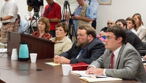 Board Member Kathleen Cambell (left), Elections Director Jane Ann Hodges, Chair Luke Eggers and Secretary Bill Aceto sit before the State Board of Elections. Photo by Lonnie Webster