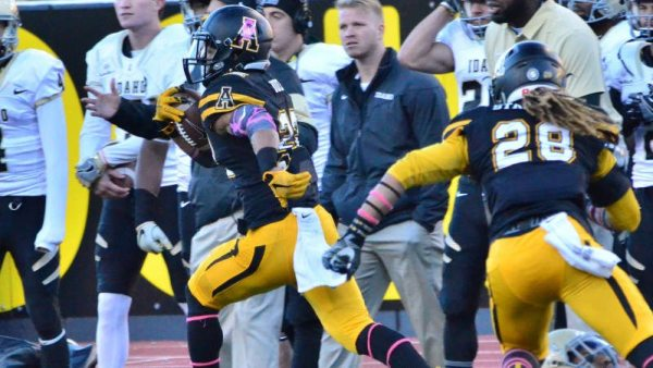 Freshman Clifton Duck had two interceptions, one for a 44-yard TD, in the Apps' 37-19 win over Idaho on Sat.Courtesy: Allyson Lamb