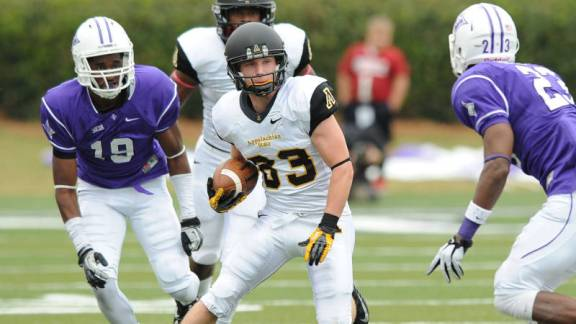 Simms McElfresh led all receivers with a career-high 65 yards and scored the first touchdown of his career in Appalachian State's turnover-riddled 27-10 loss at Furman on Saturday. Photo courtesy App State Athletics/Keith Cline