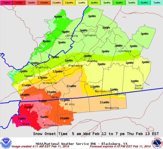When to expect snowfall of winter storm that begins Wednesday. Source: National Weather Service