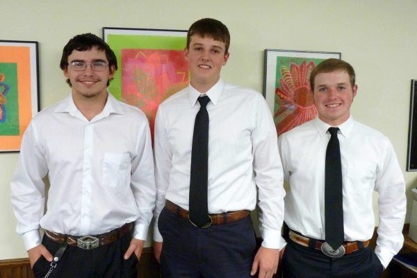 From left are Jacob Miller, Graham Roten, and Daniel Taylor. At state level SkillsUSA competition, Miller won first place in motorcycle service technology,Taylor won second place in auto service technology, and Roten took second in diesel service technology. Each won thousands of dollars in scholarships to continue their education after high school, and Miller now goes on to national competition.
