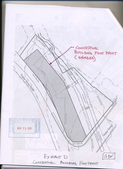 A conceptual plan of the building proposed by Harrod Construction.