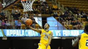 Jay Canty scored 13 points and dished out six assists in Appalachian State's 74-60 win over Furman in the quarterfinals of the SoCon Tournament on Saturday. The Mountaineers will play top-seeded Davidson at 6 p.m. on Sunday in the semfinal round. Photo by Dave Mayo and courtesy of Appalachian Sports Information