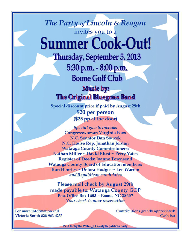 Watauga GOP Summer Cookout Sept  5 at Boone Golf Club: Live