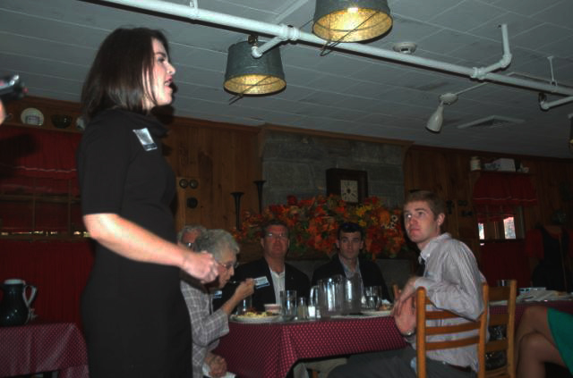 Kelsey Crum speaks at Dan'l Boone Inn in October when Tagg Romney visited Boone to garner votes for his father. Photo by Jesse Wood