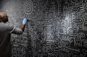 Victor Ekpuk: Drawing Memories is being featured currently at the Turchin Center. Photo courtesy of ASU