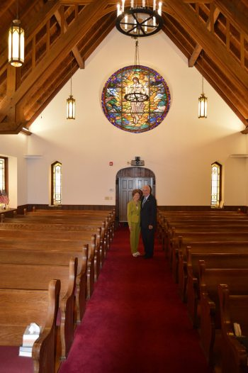 Jane and Gordon Noble are pictured in the sanctuary at Boone Advent Christian Church