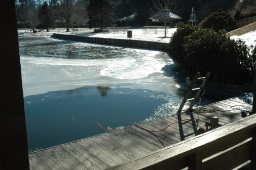 The large hole in the ice where Plungers will leap from the dock