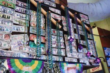 Mardis Gras decorations at Bayou Smokehouse. Photo by Ken Ketchie.