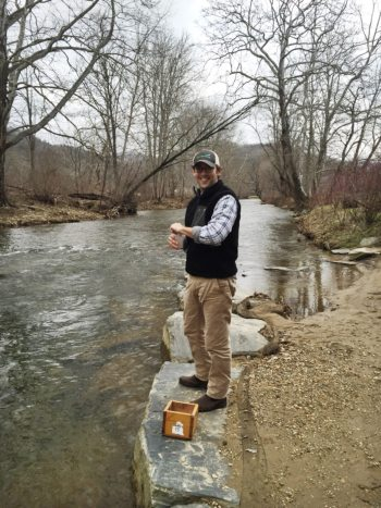 MountainTrue: Andy Hayslip collects water samples at Valle Crucis Community Park.