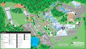 Map of MerleFest grounds at WCC.