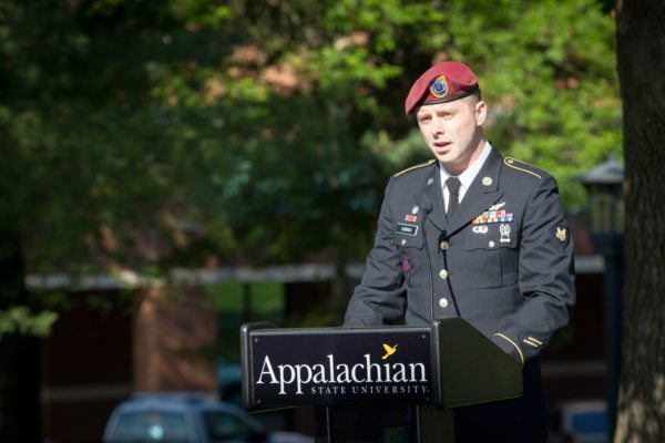 Retired Spc. Anthony Corso, now an Appalachian State University student majoring in marketing, speaks at Appalachian's Memorial Day ceremony. Photo credit: Marie Freeman.