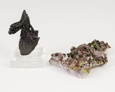 Minerals from around the world have been donated to Appalachian State University's Department of Geology and McKinney Geology Teaching Museum. They illustrate the diversity of the earth's geology and represent a natural gas industry geologist's lifelong passion for collecting. The collection includes examples of epidote, a metamorphic silicate mineral from Peru, above, and China. Photo credit: Marie Freeman