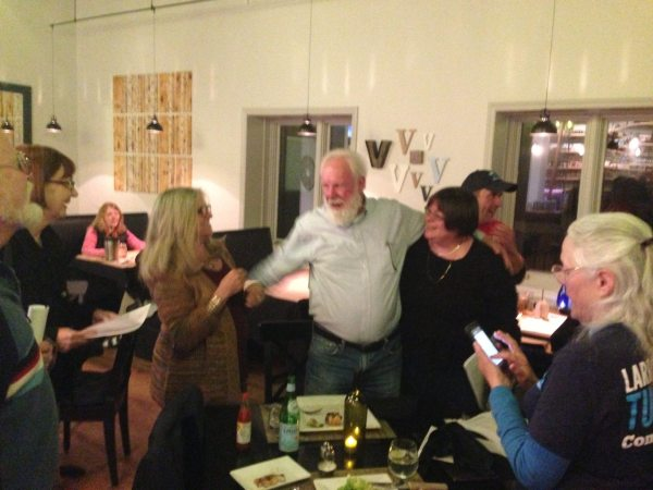 Democrat Larry Turnbow celebrating with friends and fellow Democrats at Vidalia on Tuesday. Photo by Ken Ketchie