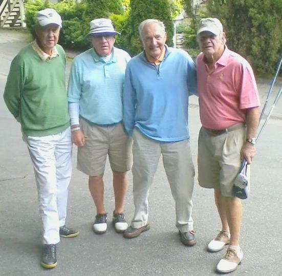 They talked football, basketball and baseball. Veteran writer/promoter Bill Hensley, left, hosted former major league baseball manager Dave Bristol, former University of Georgia basketball coach Hugh Durham and former Appalachian State football coach Jerry Moore to golf at Hound Ears and Linville recently.  The foursome has a combined athletic experience of over a hundred years.
