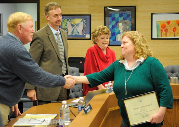 Watauga County Schools After School Administrative Assistant Billie Jo Lister was this month's recipient of the Servant's Heart Award.