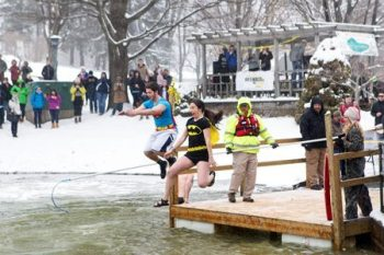 Chilly waters awaited participants in the 2015 Polar Plunge at Appalachian State University. This year's event will be held Feb. 18 at the campus duck pond off Rivers Street. Photo credit: Marie Freeman
