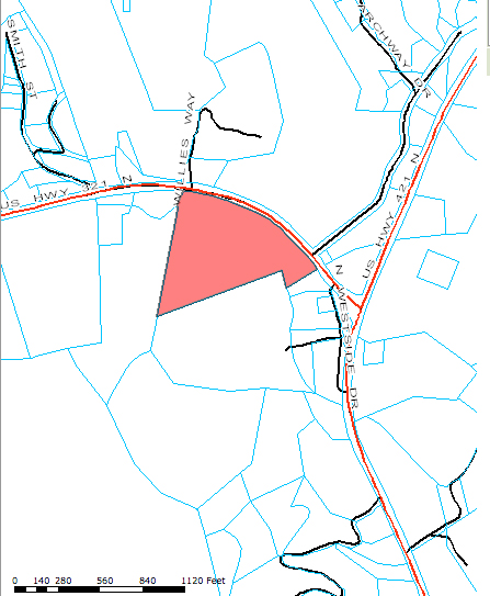 The Humphreys' property is highlighted in red.