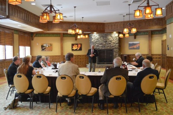 Oasis Shriners Potentate Johnny King speaks during a press conference at Chetola Resort on Wednesday.