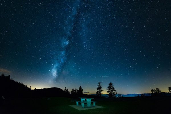Milky Way at Waterrock Knob on the Blue Ridge Parkway near Waynesville, NC. Photograph Copyright Scott Ramsey, All Rights Reserved.