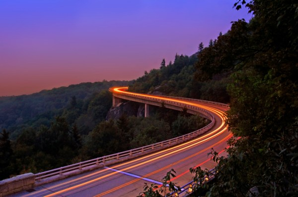 A time lapse of a car on the viaduct on the Blue Ridge Parkway. Photo by Todd Bush