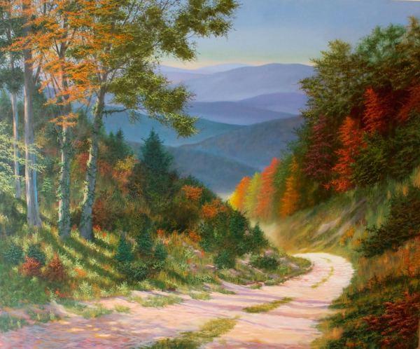 Autumn Journey, David Birmingham oil on canvas