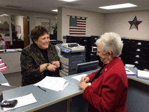 U.S. Rep. Virginia Foxx filed for re-election at the Watauga County Board of Election on Monday. Elections Director Jane Ann Hodges is pictured as well.