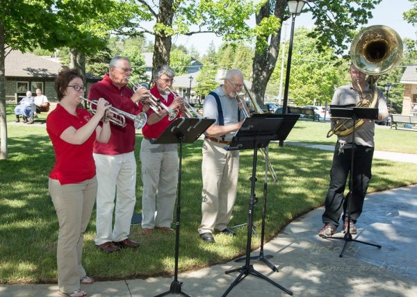 Several members of the Watauga Community Band performed at the ribbon cutting ceremony of the Rotary Gazebo in Blowing Rock on Thursday. Photo by Lonnie Webster