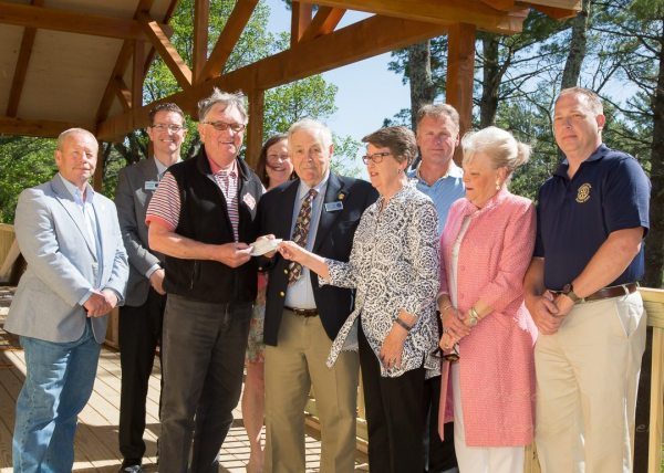 Members of the Blowing Rock Town Council and the Historical Society of Blowing Rock pose for the $50,000 check presentation for the American Legion Building. Photo by Lonnie Webster