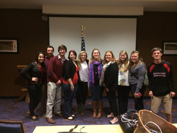 College Republicans with Watauga GOP Chair Anne Marie Yates (fourth from left) at the Courtyard by Marriott on Tuesday night after election results.
