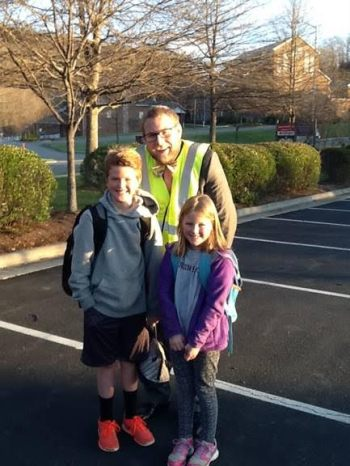 Students, Steel Neely and Jane Neely, with Hardin Park teacher, Scotty Greer during Walking Wednesdays program.