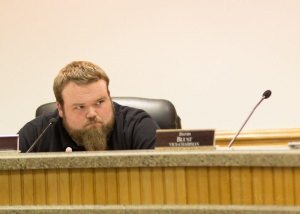 Chair Luke Eggers at an elections board meeting in March of this year. Photo by Lonnie Webster