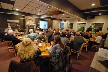 The Banner Elk Chamber and friends enjoy dinner at Stonewall's.