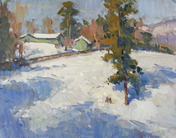 GREEN BARNS IN WINTER, Richard Oversmith oil on canvas panel