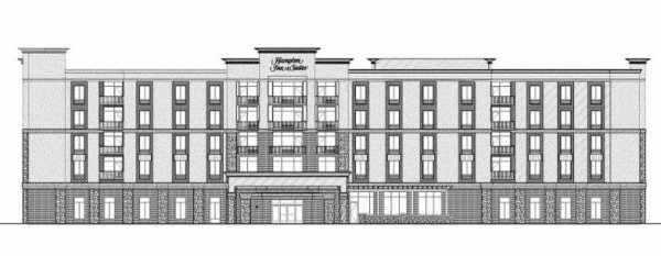 This image depicts the front elevation of the new hotel.