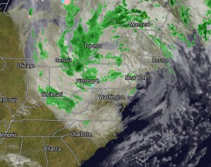 Sandy is headed north and out of the High Country. Map from Intellicast