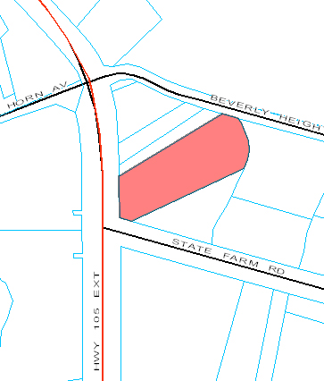 Tax map of the larger parcel shaded in red. The smaller parcel is just above the shaded parcel.