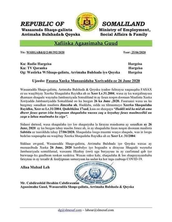 Wasaarada Shaqo Galinta Somaliland Oo Sheegtay In Shaqaalaha Dawladdu Fasax Yihiin Maalinta Sabtida Xuska 26-ka June Awgeed