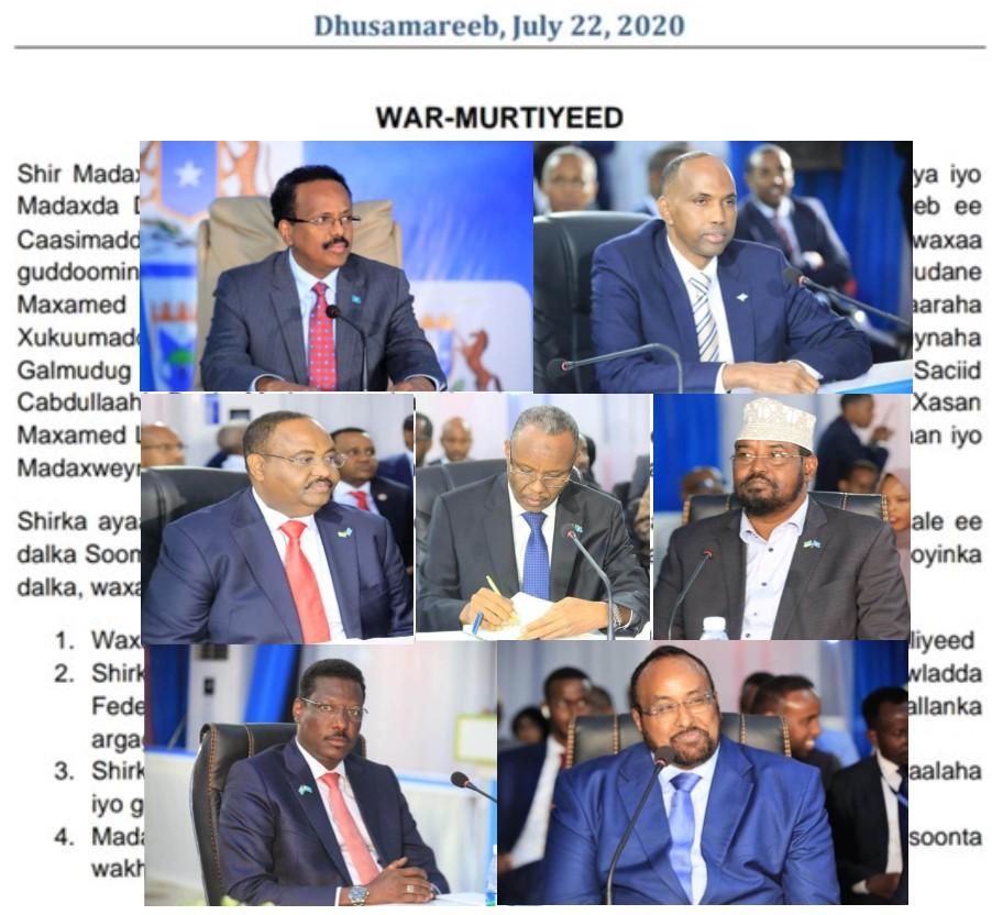 War-Murtiyeedka Ka Soo Baxay Shirkii Dhuusamareeb Ee Maamul Goboleedyada Iyo Dawladda Federalka Somalia