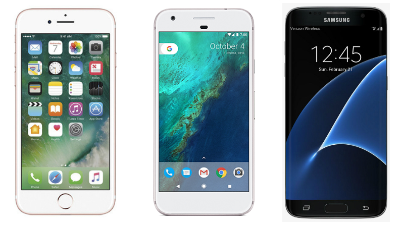 iPhone 7, Google Pixel, Samsung Galaxy S7